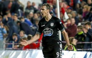 Caballera celebra un gol con el Lugo.