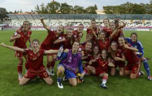 Las jugadoras de la selecci�n celebran una victoria en el Europeo...