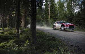 El brit�nico, durante el Rally de Finlandia