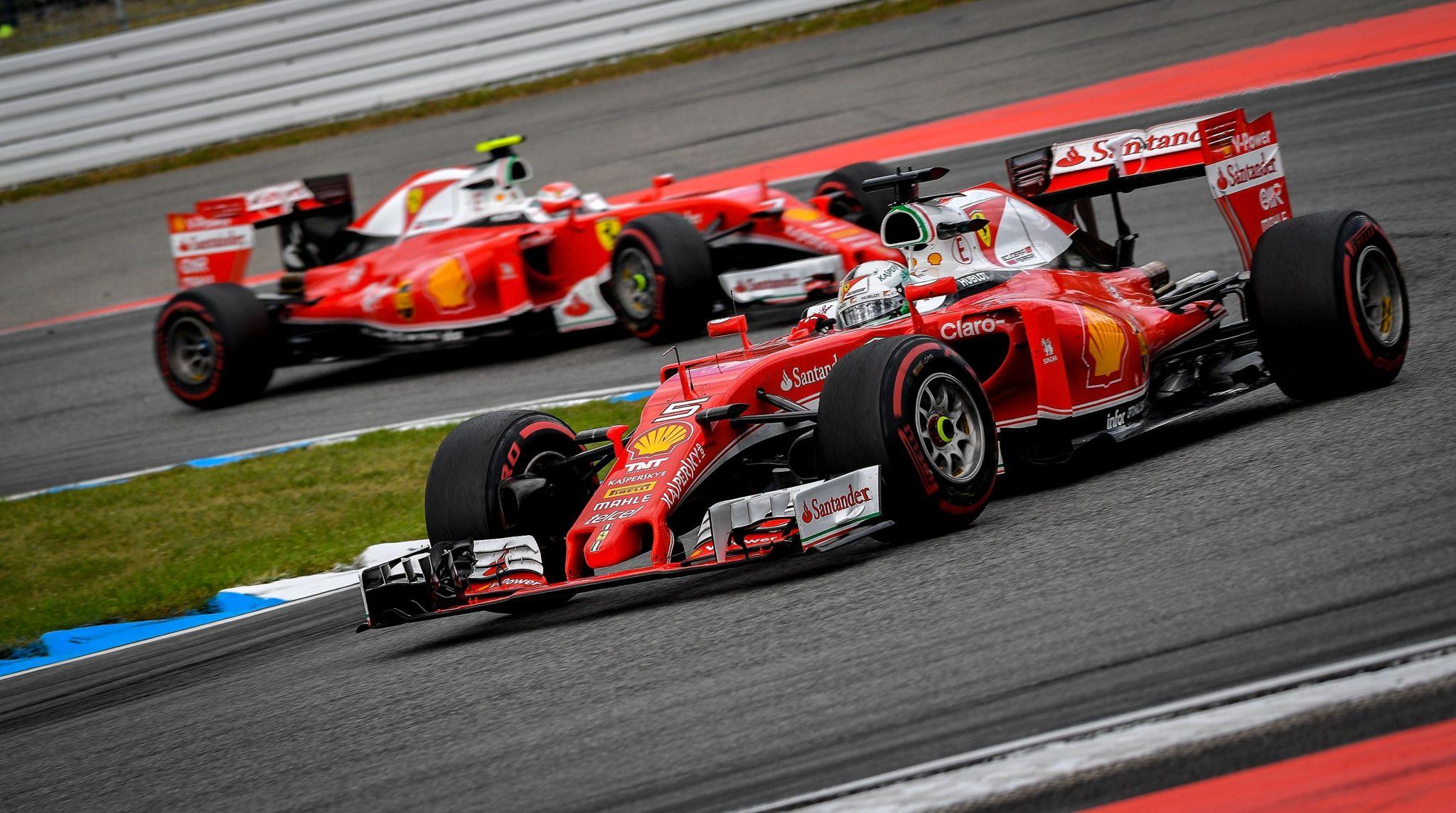 Los dos ferrari durante el GP de Alemania