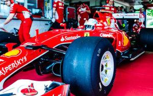 El coche de Vettel, con los neum�ticos del a�o que viene