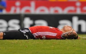 Dayro Moreno postrado en el c�sped.