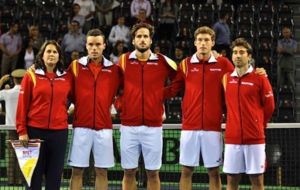 El equipo espa�ol de Copa Davis en la �ltima eliminatoria en...