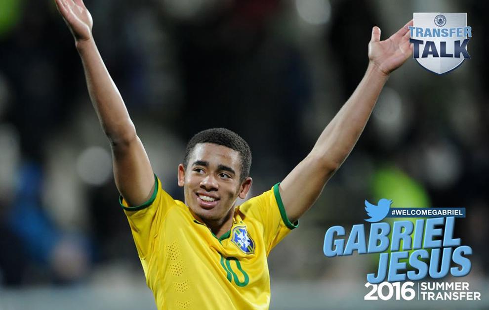 El Manchester City anuncia el fichaje de Gabriel Jesús.