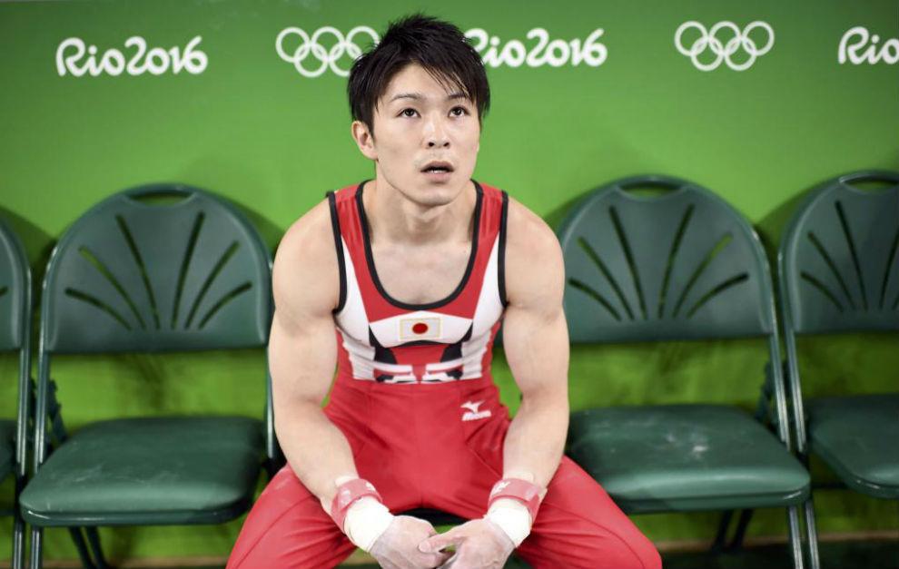 Uchimura entrenándose en Río