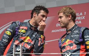 Ricciardo y Vettel, en el podio del GP de Canad� en 2014