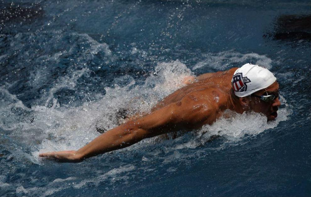 Michael Phelps, durante la concentración del equipo estadounidense en...