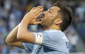 Villa se lamenta en un partido del NY City.