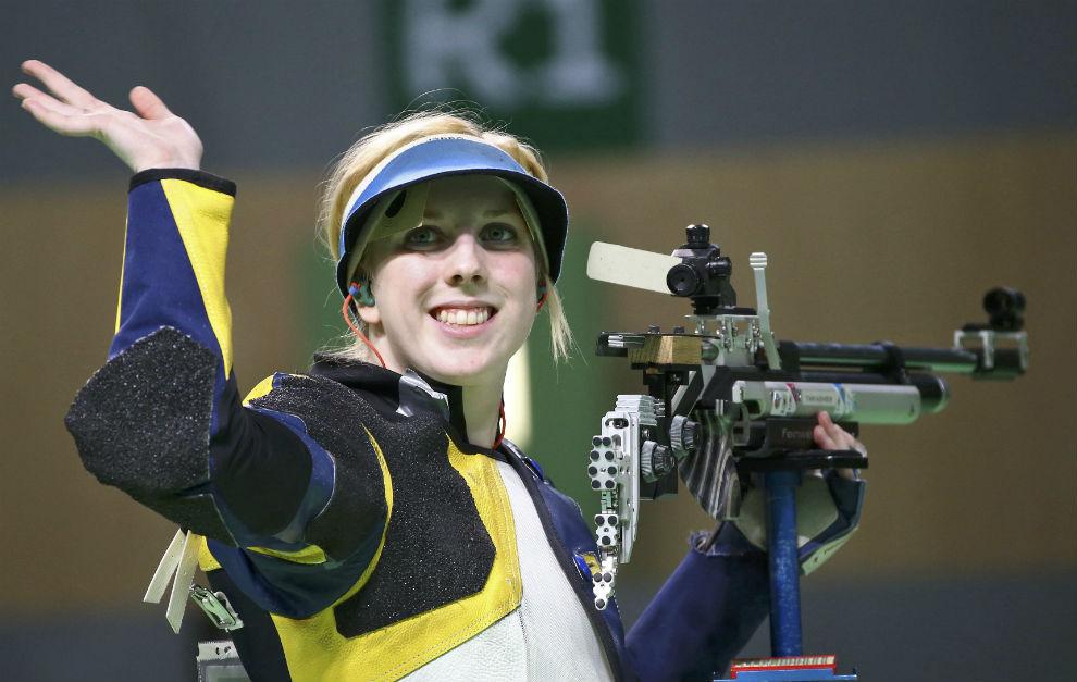 Virginia Thrasher, tras ganar el oro.