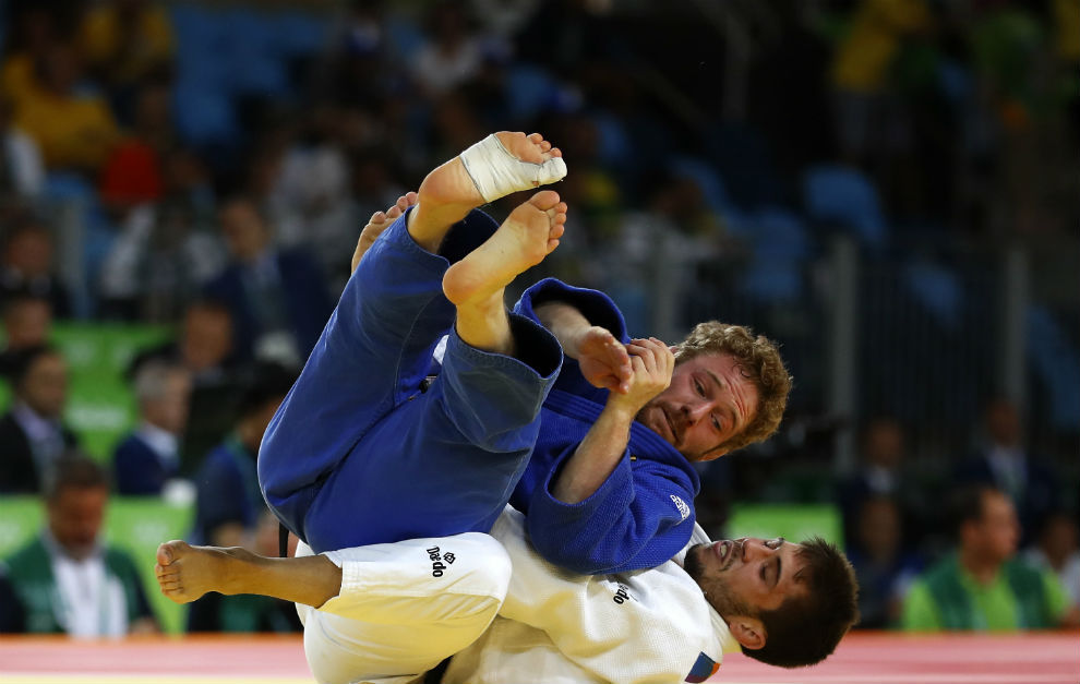 Fran Garrigós, en un momento de su combate con Englmaier.