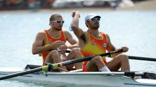 La pareja española, en una de las competiciones previas a los Juegos.