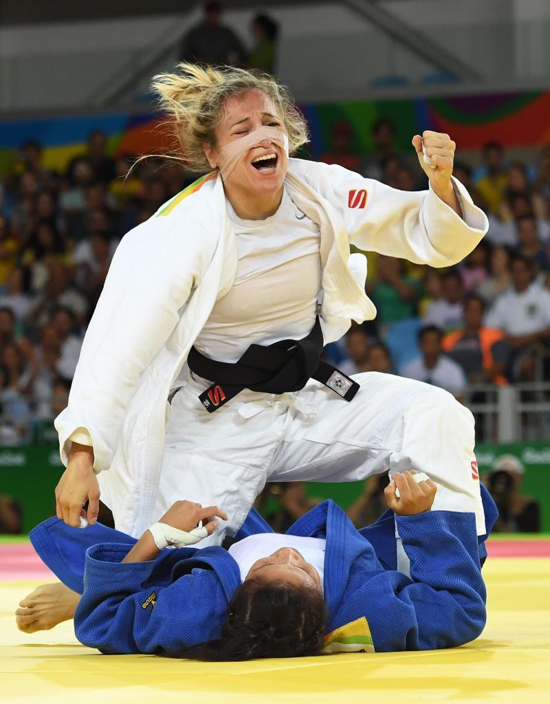 Laura Gómez durante su primer combate en Río de Janeiro.