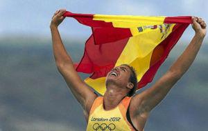 Marina Alabau celebra su medalla de oro en Londres 2012
