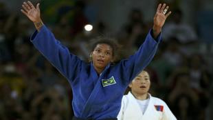 Rafaela Silva al termino del combate