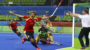 Casasayas celebrando el gol ante Australia.