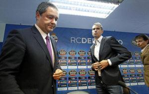 El presidente junto al entrenador, Gaizka Garitano