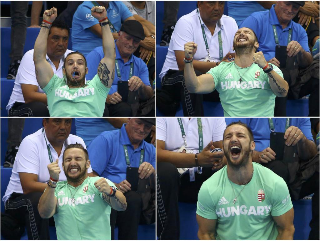 El entrenador y pareja de la nadadora Katinka Hosszu celebrando la...