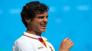 Miki Oca, seleccionador español, en el partido frente a Estados...