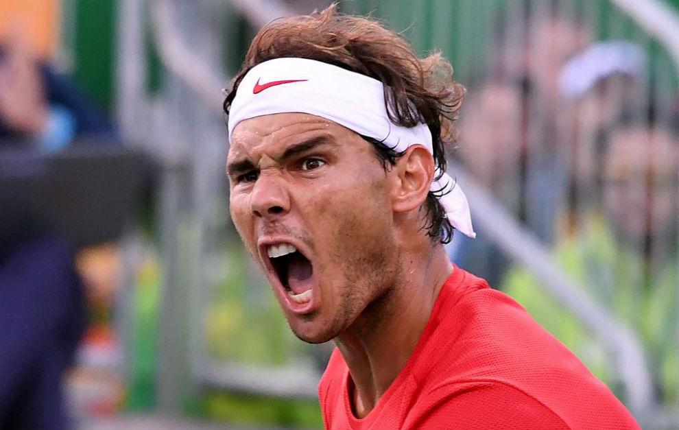 Rafa Nadal en su partido de dobles.