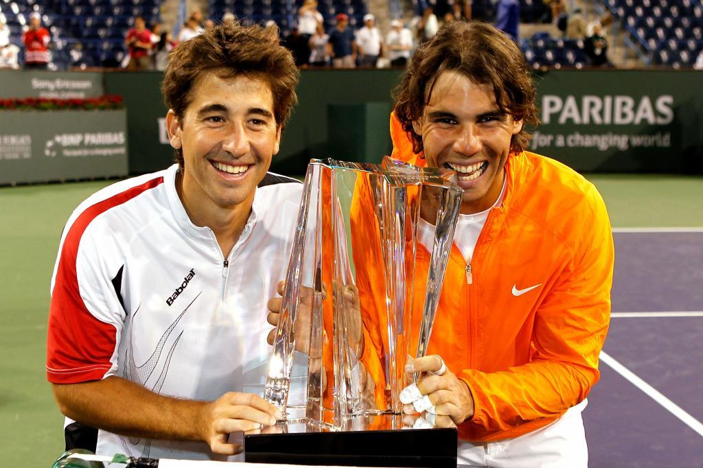 Marc López y Rafa Nadal tras ganar en Indian Wells 2010.