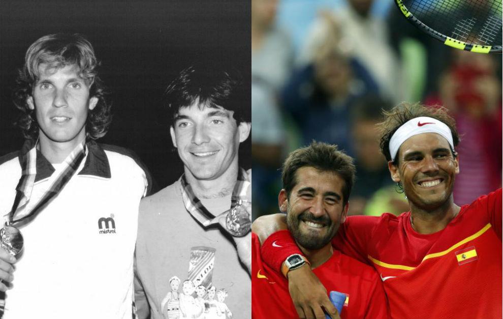 Sergio Casal, Emilio Sánchez-Vicario, Marc López y Rafa Nadal.