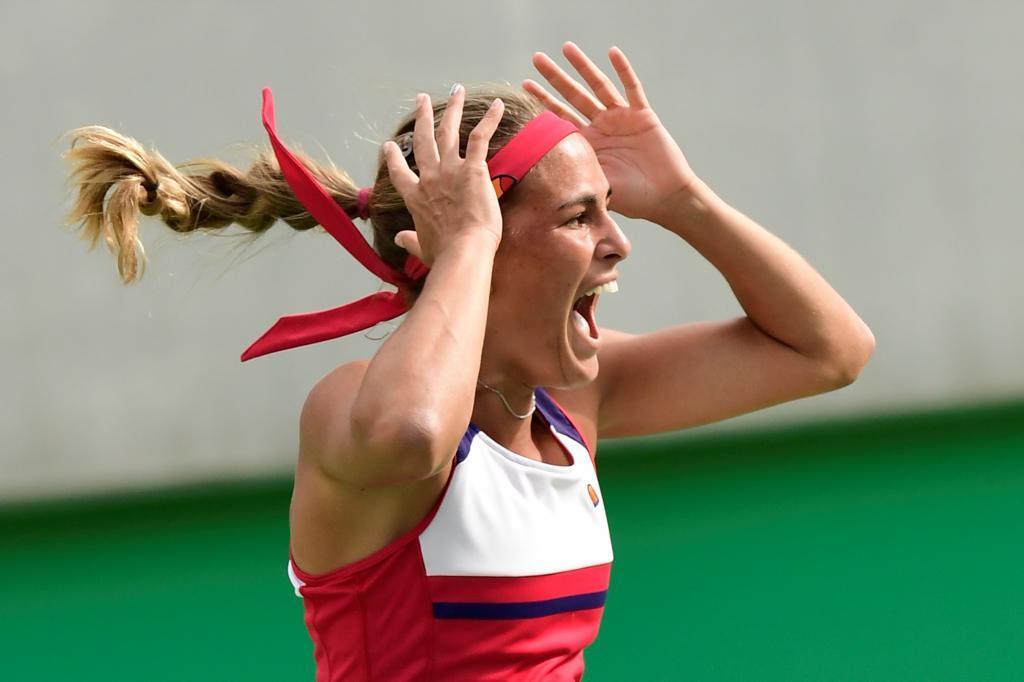 Mónica Puig celebra su pase a la final en los Juegos.