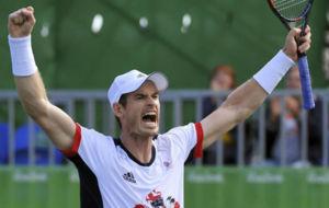 Andy Murray celebrando su pase a semifinales de Rio.