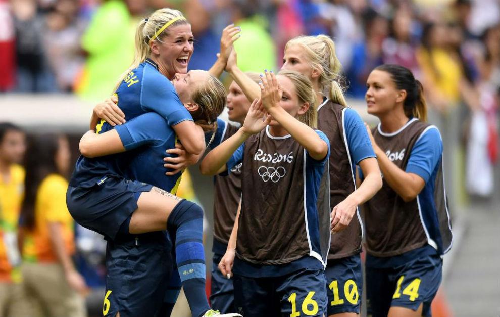 Las jugadoras suecas celebran su pase a semifinales.