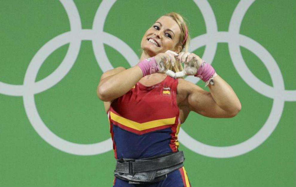 Lydia Valentín celebra la consecución de la medalla de bronce.