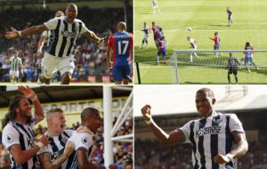 El gol y la celebraci�n de Rond�n ante el Crystal Palace.