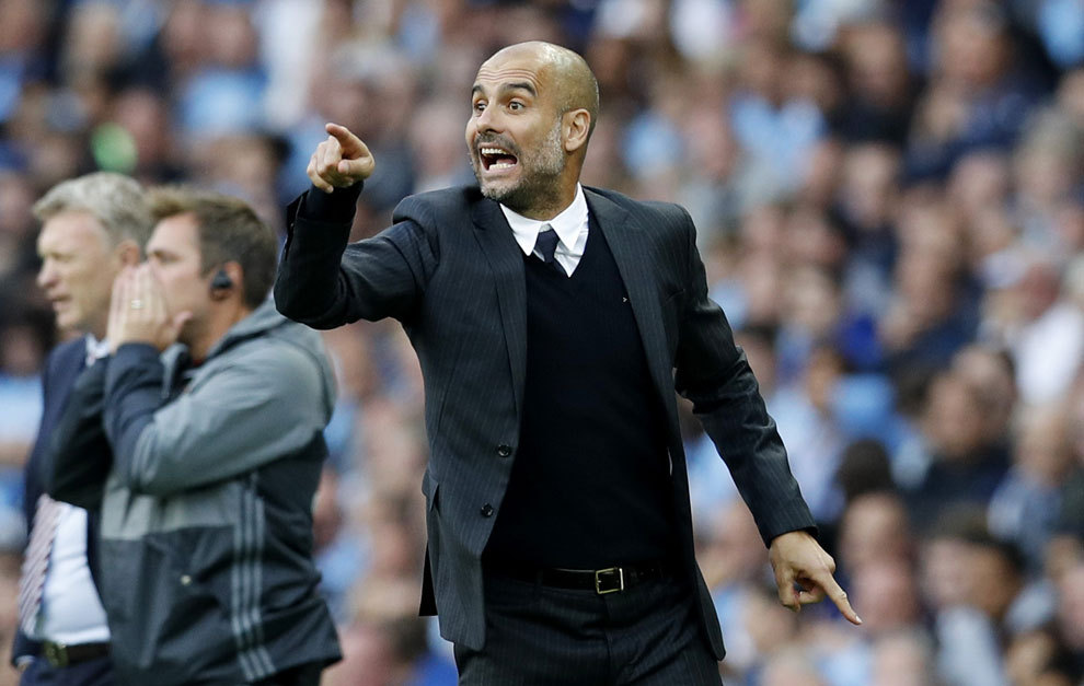 Guardiola during his first Premier League match with Manchester Cty.