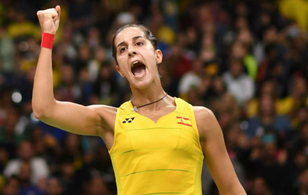 Carolina Marín celebrando su triunfo.