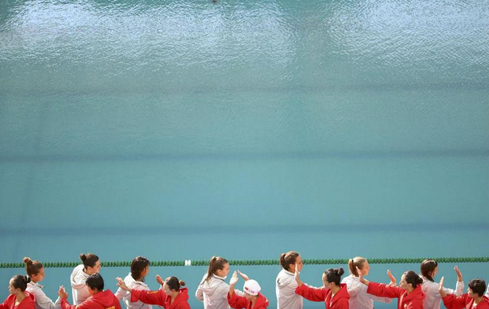 Imagen de la piscina María Lenk antes del inicio del partido de...