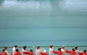 Imagen de la piscina Mar�a Lenk antes del inicio del partido de...