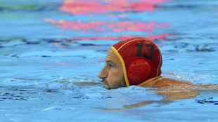 El portero de la selección española en su partido ante Montenegro.