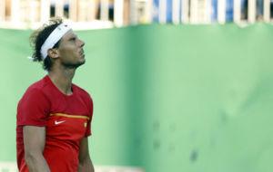 Rafa Nadal durante un lance de su partido ante Nishikori.