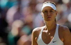 Sharapova during a match at the 2015 Wimbledon.
