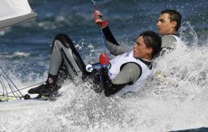 Joan Herp y Jordi Xammar, durante una regata en los Juegos Olímpicos...