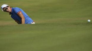 Carlota Ciganda, durante la primera jornada del torneo de golf de Río...