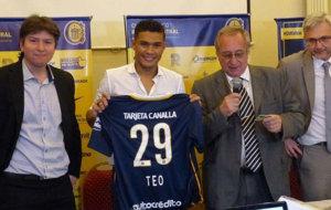 Teo Guti�rrez, durante su presentaci�n como jugador de Rosario...