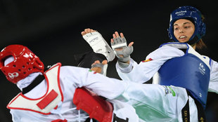 Eva Calvo en el combate de cuartos de final frente a la iraní...