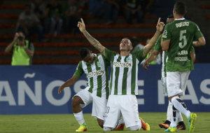 Bernal celebra un gol con Atl�tico Nacional.