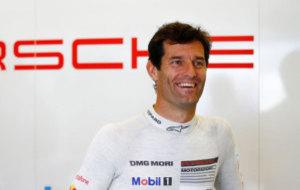 Webber en el box de Porsche en el WEC