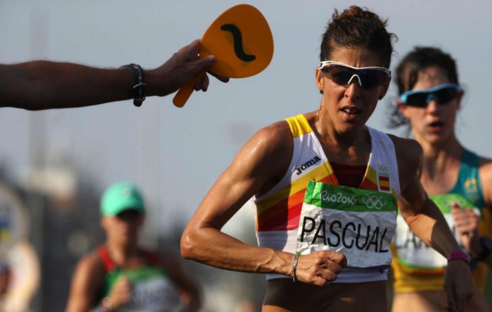 Beatriz Pascual durante la prueba de 20km marcha en Río.