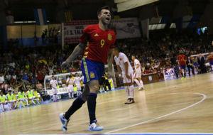 Sergio Lozano celebra el 2-0 de Espa�a frente a Vietnam.