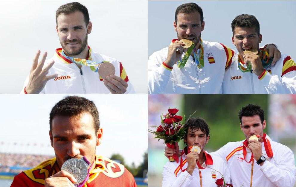 Medallas olímpicas de Saúl Craviotto en Pekín 2008, Londres 2012 y...