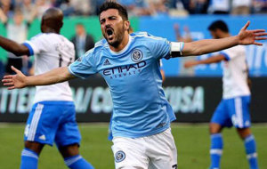 David Villa celebra un gol con los New York City.