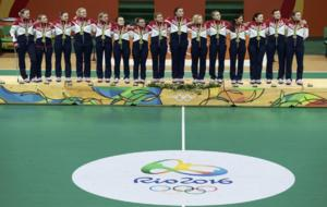 La selecci�n femenina rusa, en el podio