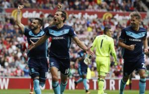 Stuani, celebrando uno de sus goles al Sunderland.