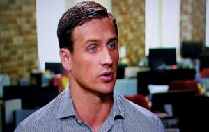 Ryan Lochte of the U.S. gives an interview to Globo TV at their...